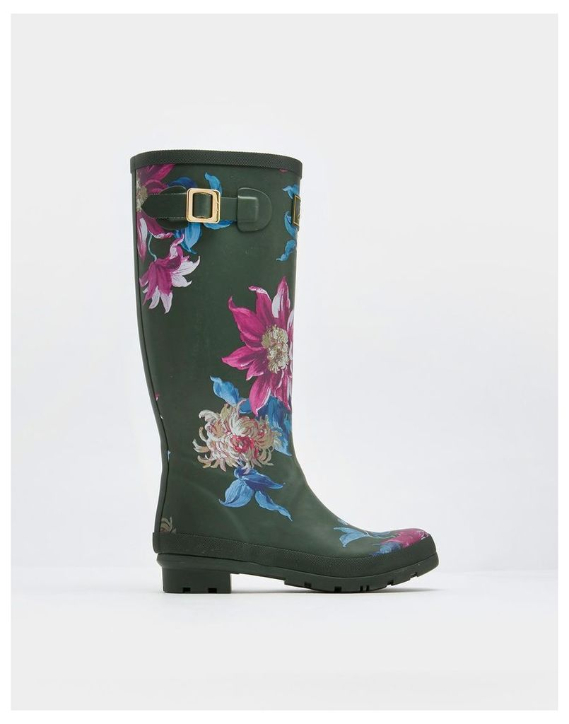 Olive Clematis Printed Wellies  Size Adult 4   Joules UK