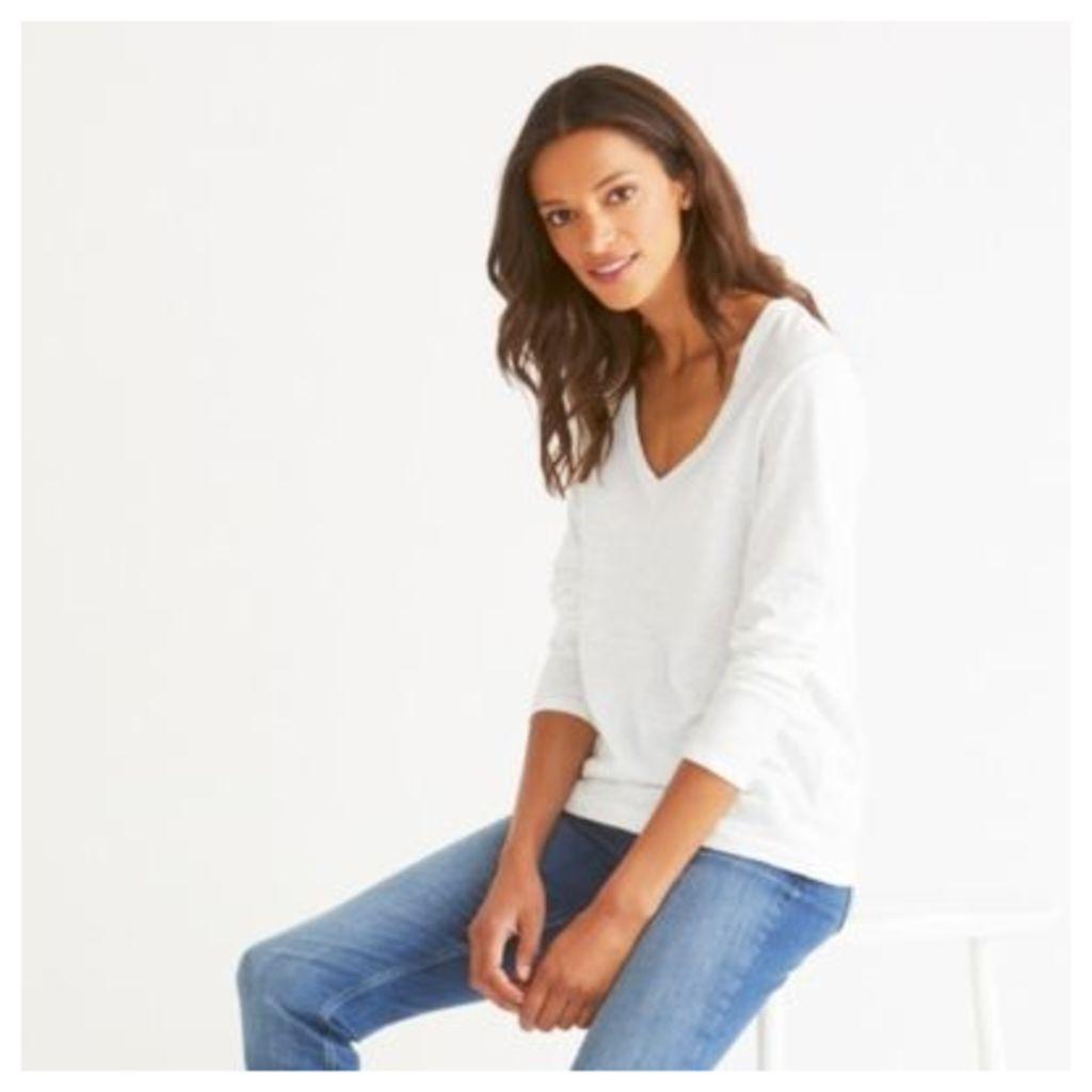 Cotton V-Neck Long Sleeve T-shirt