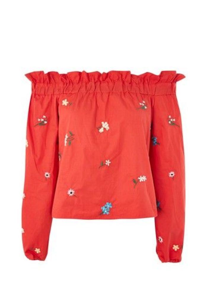 Womens Floral Embroidered Bardot Top - Red, Red