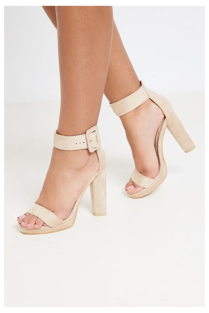 Brand Attic Faux Suede Ankle Buckle Strap Heels - Beige