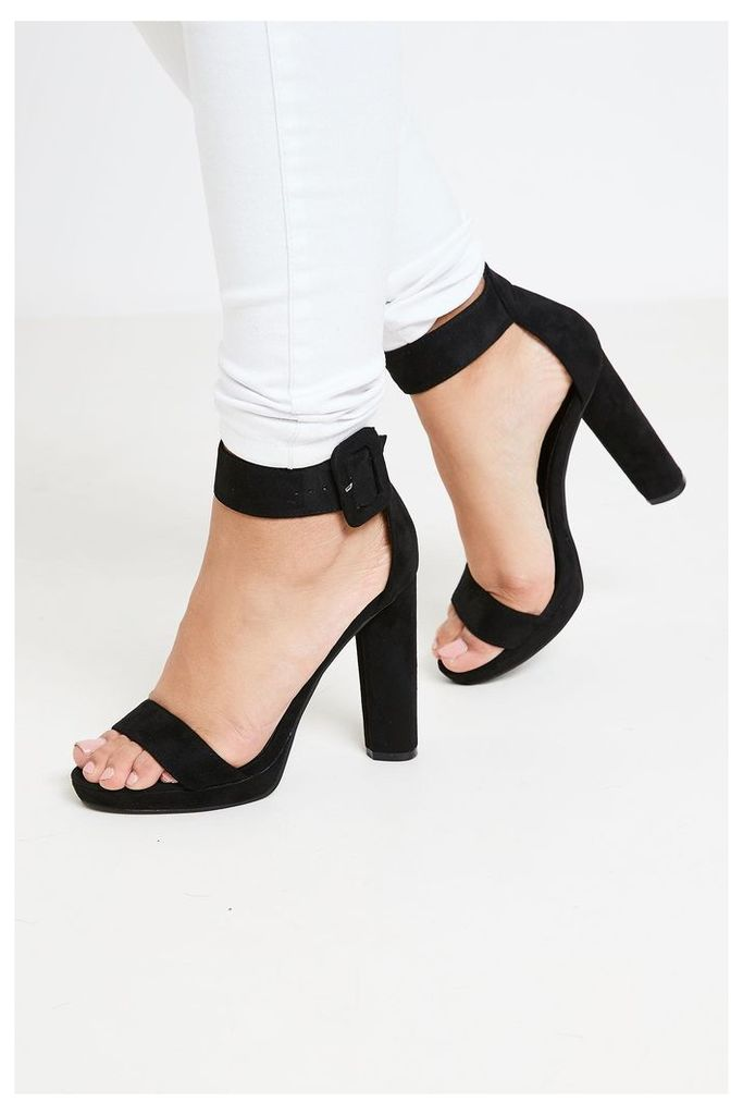 Brand Attic Faux Suede Ankle Buckle Strap Heels - Black