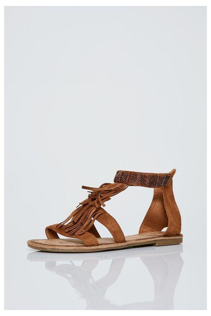 Brand Attic Embellished Fringed Sandals - Brown