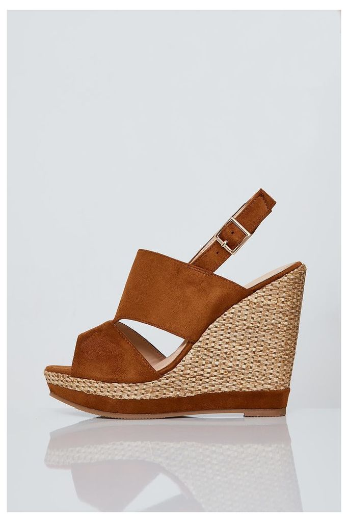 Brand Attic Faux Suede Espadrille Wedges - Brown