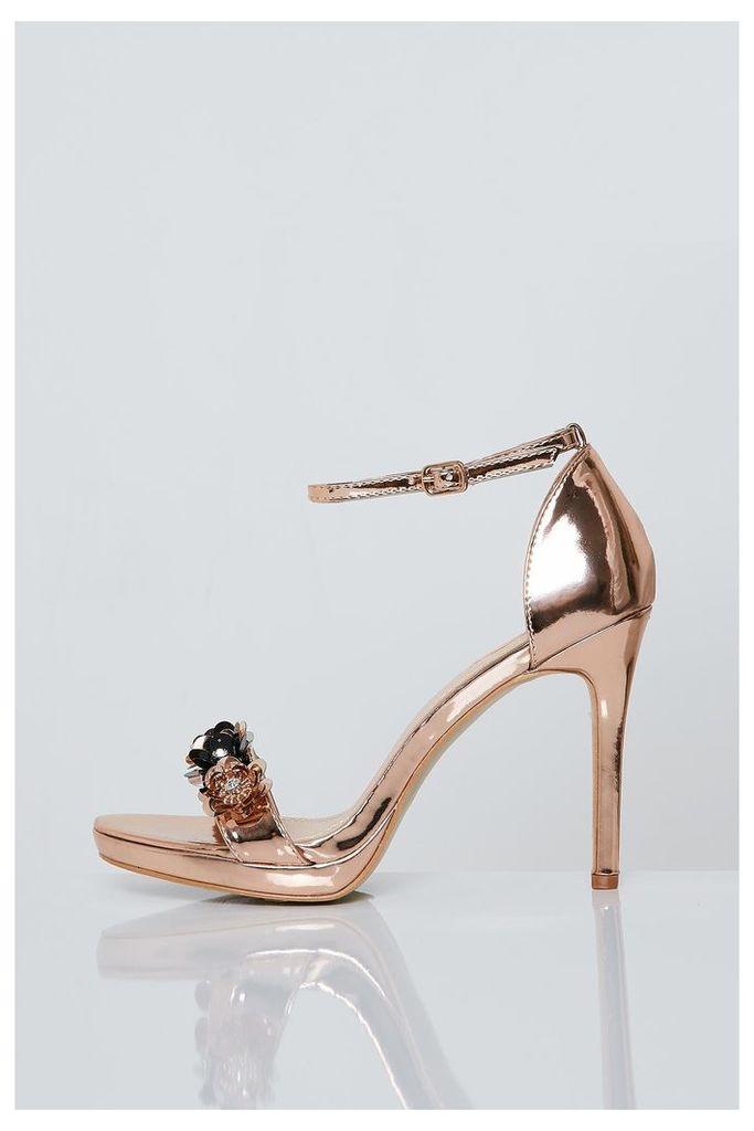 Brand Attic Floral Embellished Heels - Gold