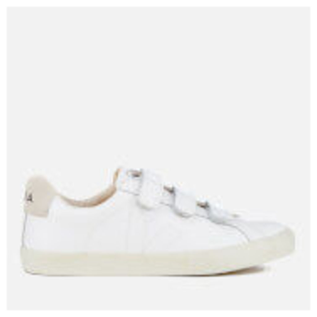 Veja Women's 3 Lock Leather Velcro Trainers - Extra White
