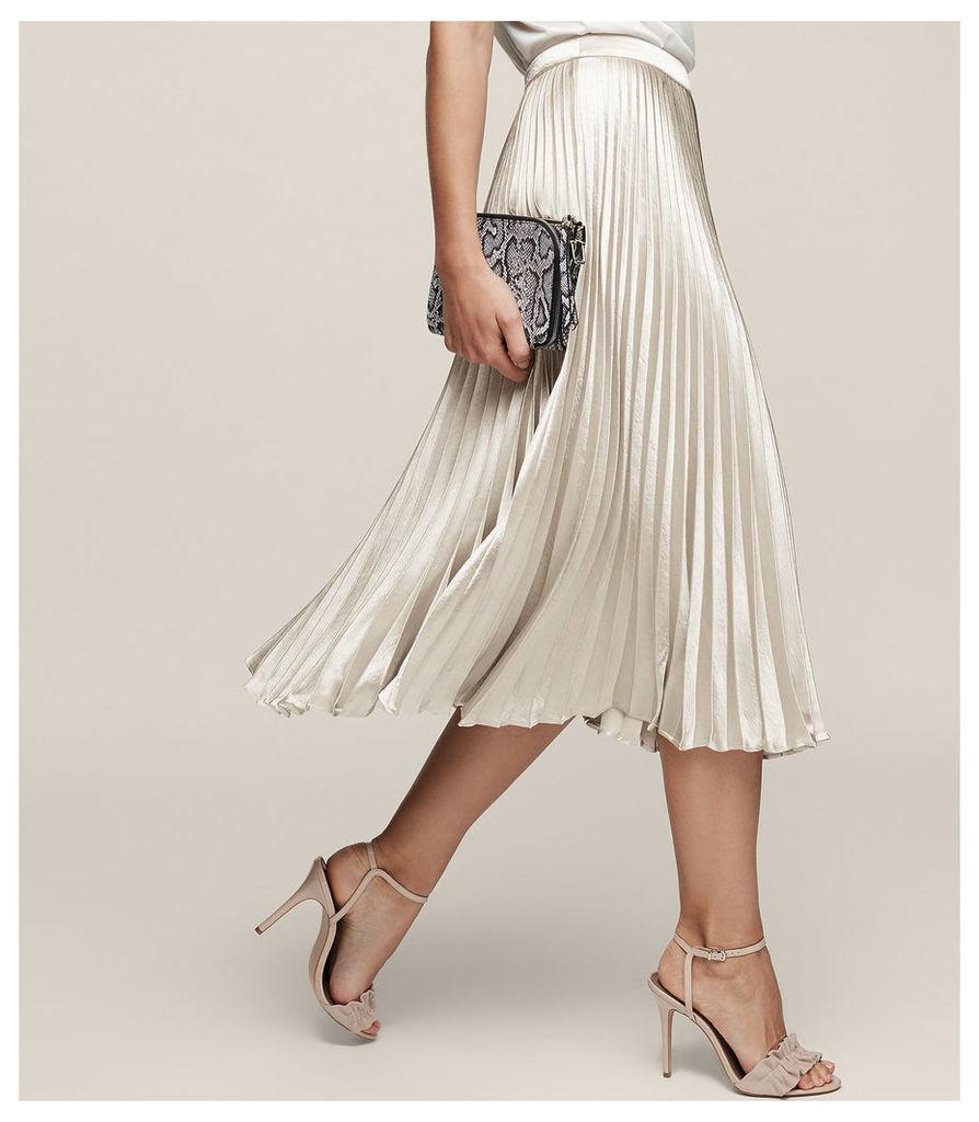 REISS Alisa - Metallic Midi Skirt in Grey, Womens
