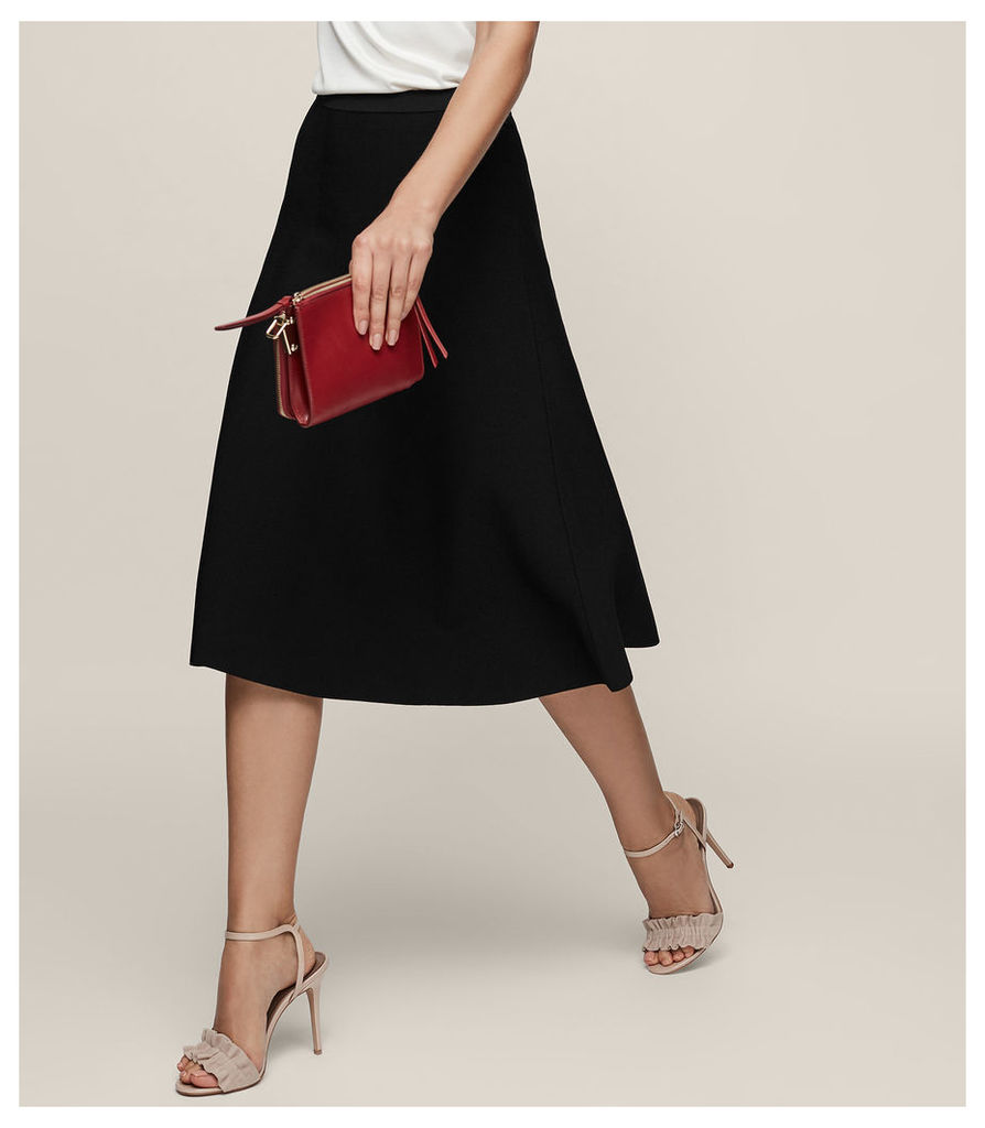 REISS Loretta - Knitted A-line Skirt in Black, Womens
