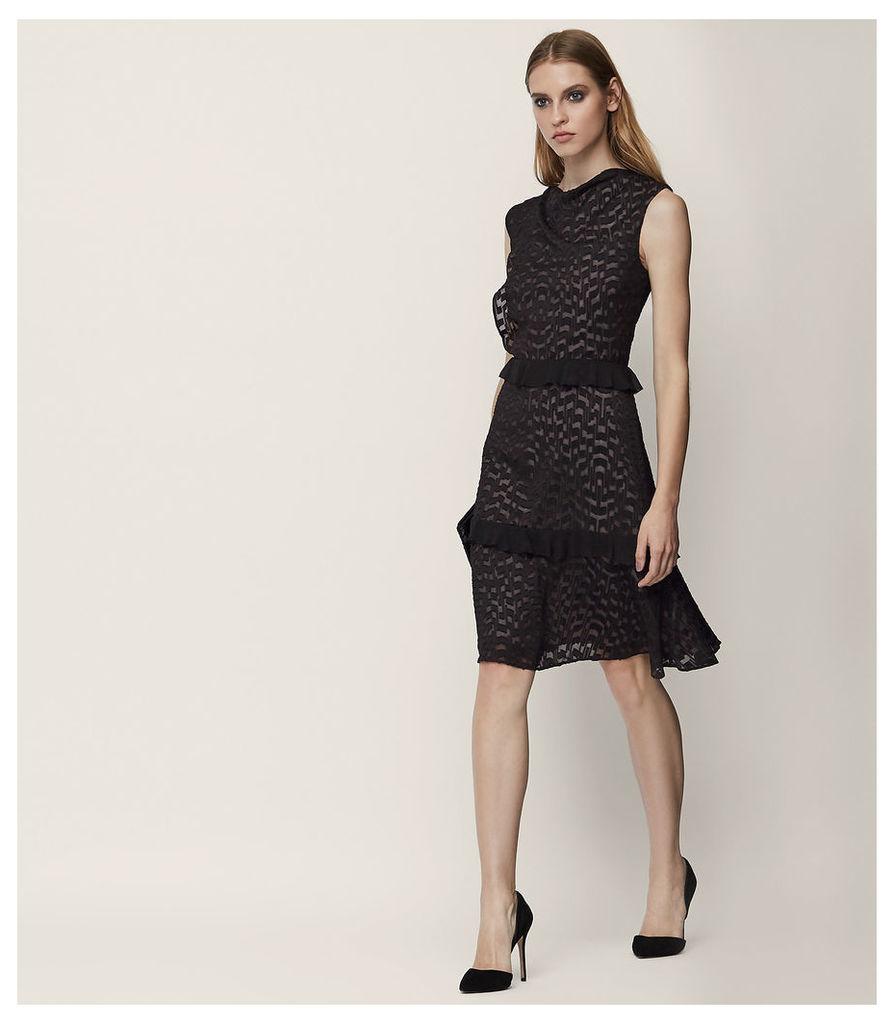 REISS Abigail - Burnout-detail Dress in Black, Womens