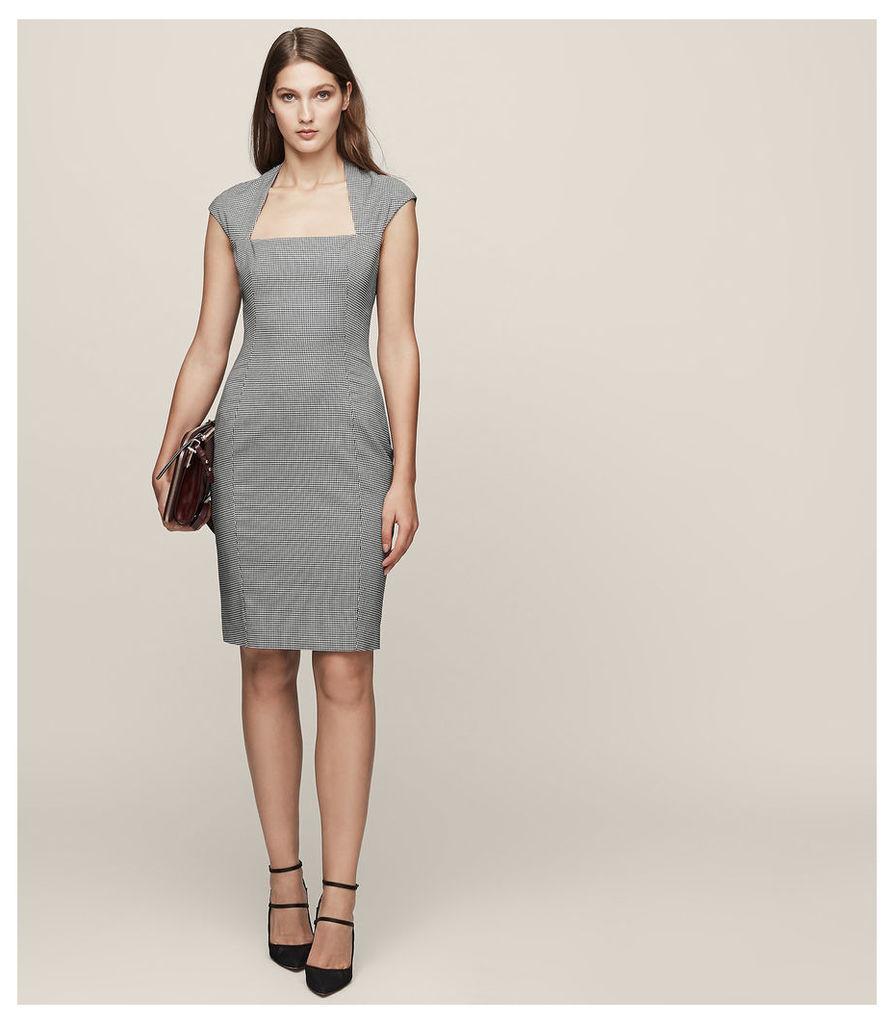 REISS Mason Dress - Houndstooth Tailored Dress in White, Womens