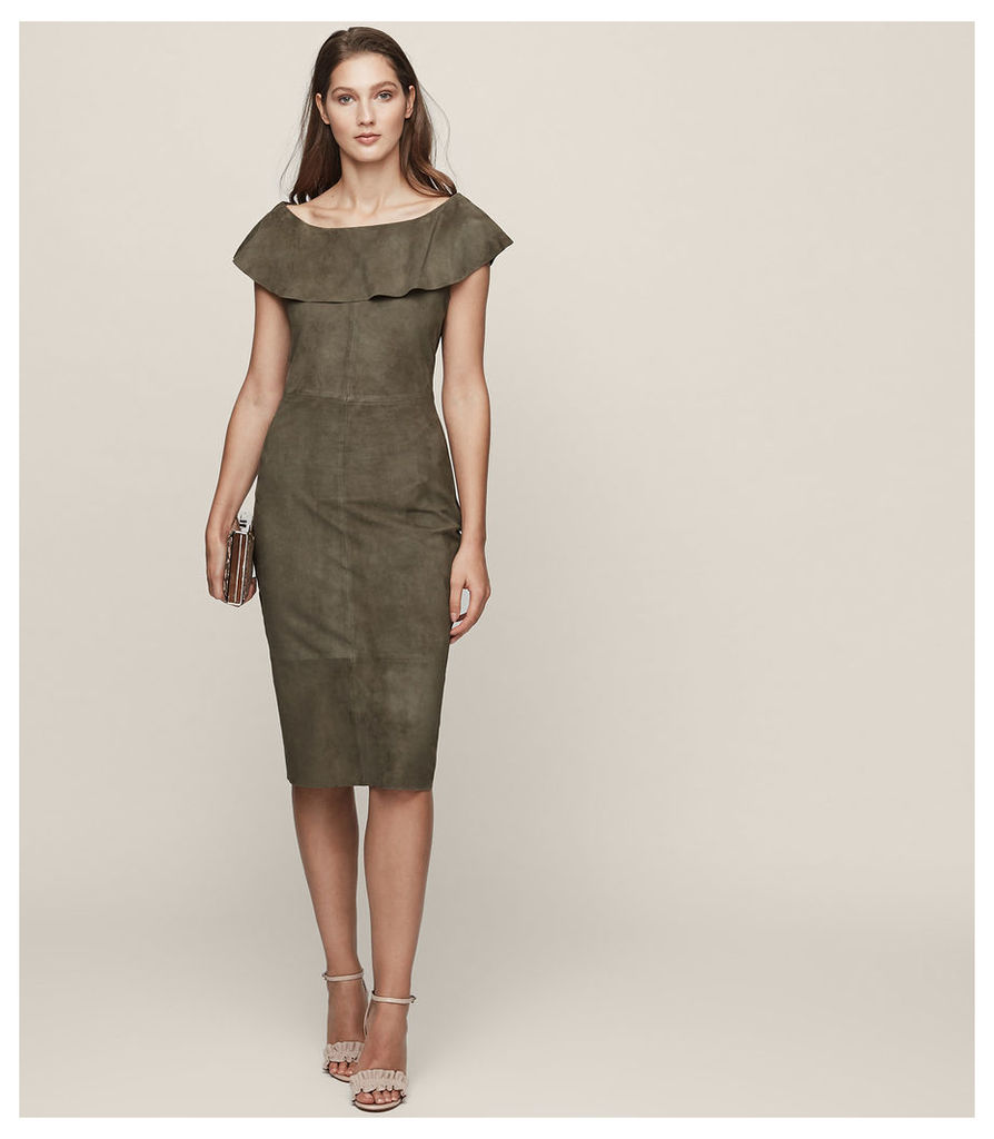 REISS Fray - Suede Ruffle-neck Dress in Brown, Womens