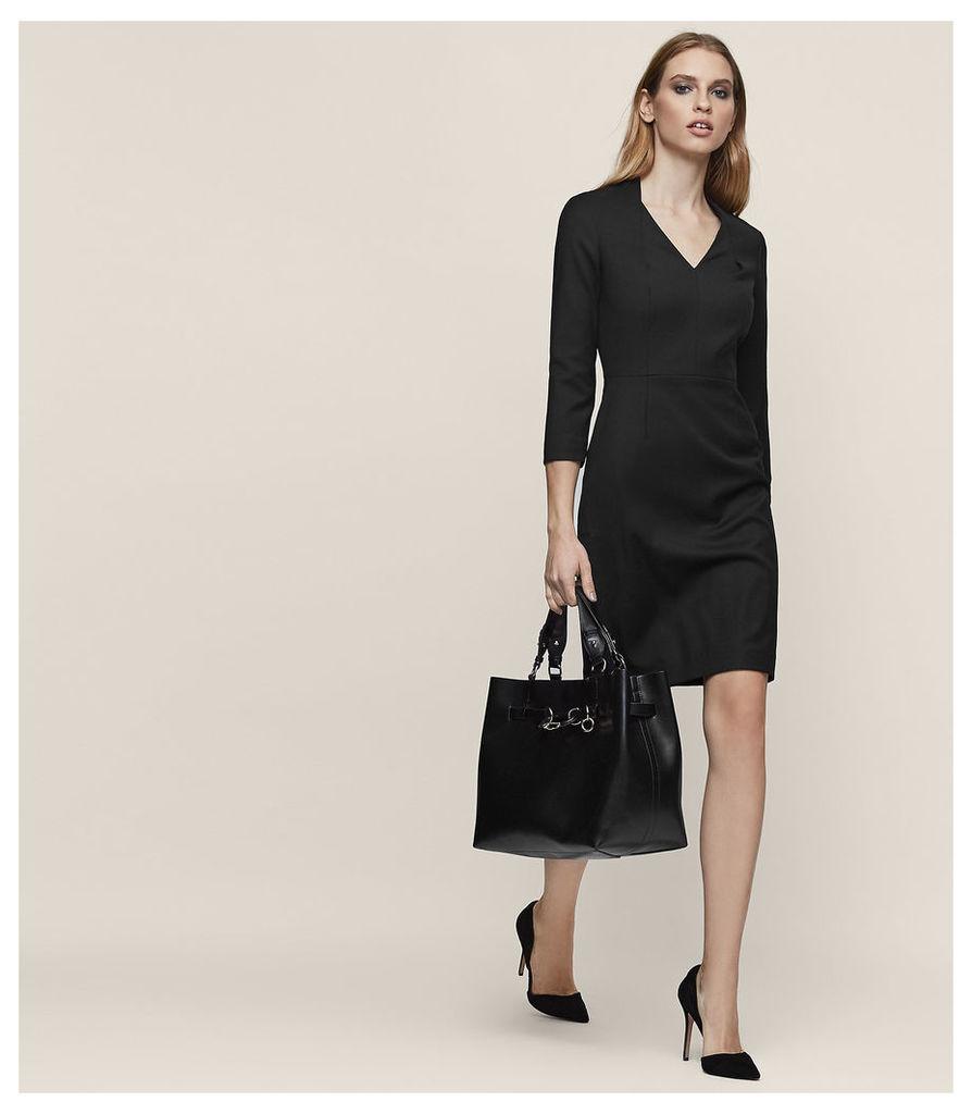 REISS Huxley Ls Dress - Tailored Dress in Black, Womens