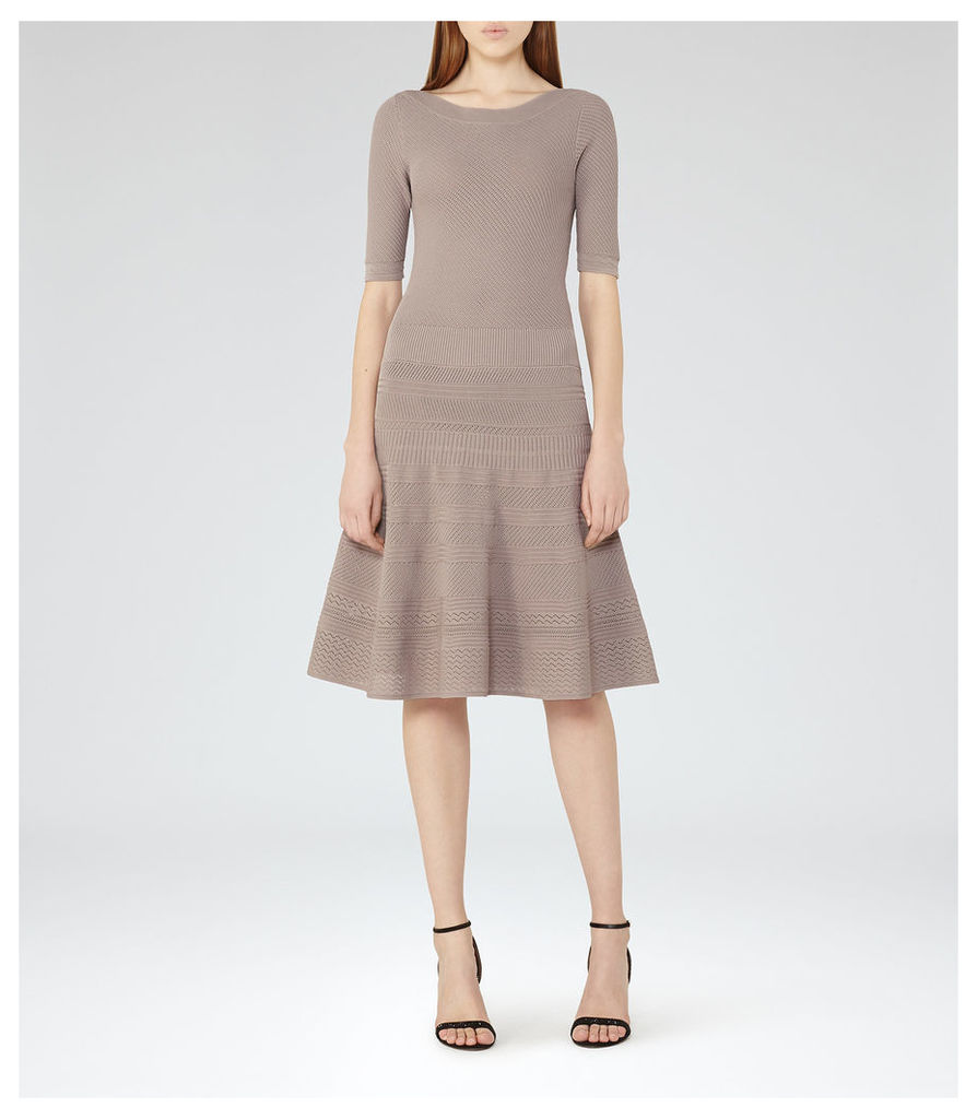 REISS Karolina - Knitted Fit And Flare Dress in Brown, Womens