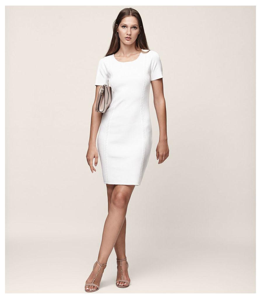 REISS Skyler - Knitted Short Sleeved Dress in White, Womens