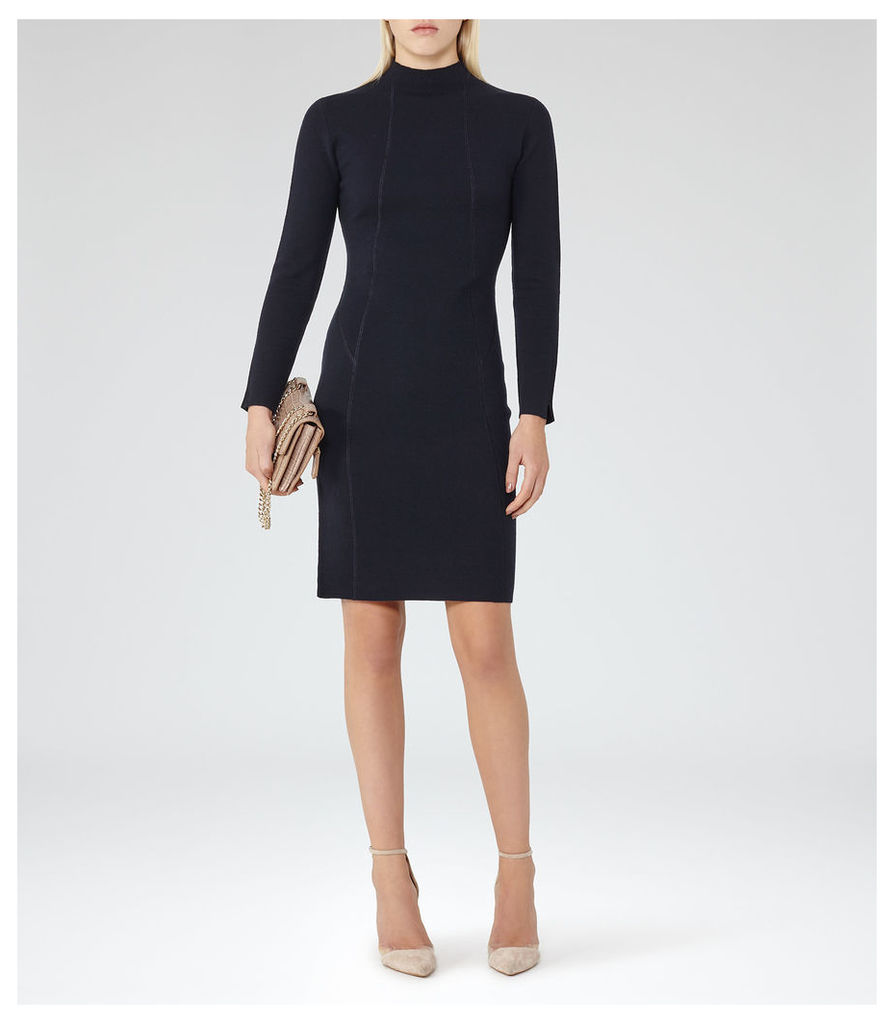 REISS Daphne - Knitted Bodycon Dress in Blue, Womens