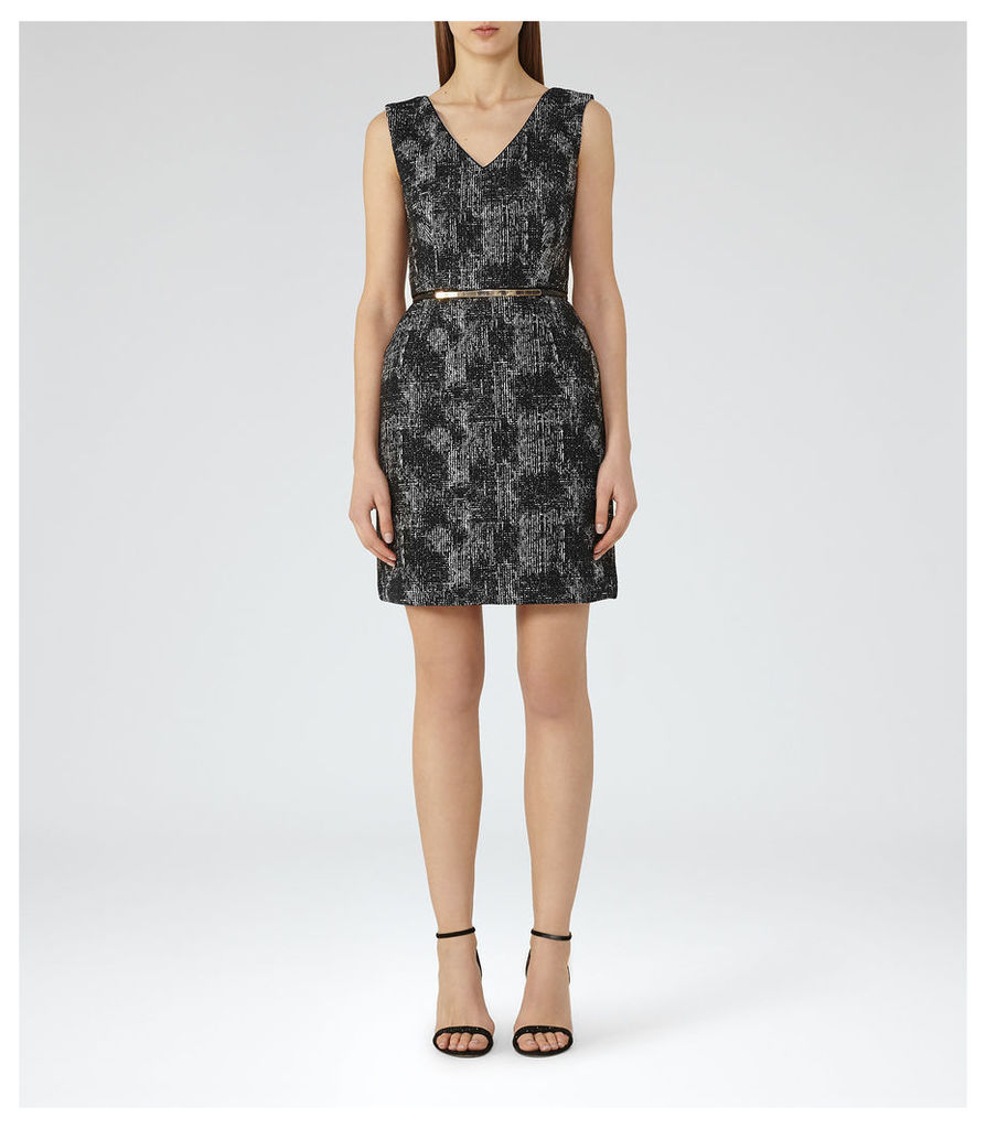 REISS Enni - Jacquard Fit And Flare Dress in Black, Womens
