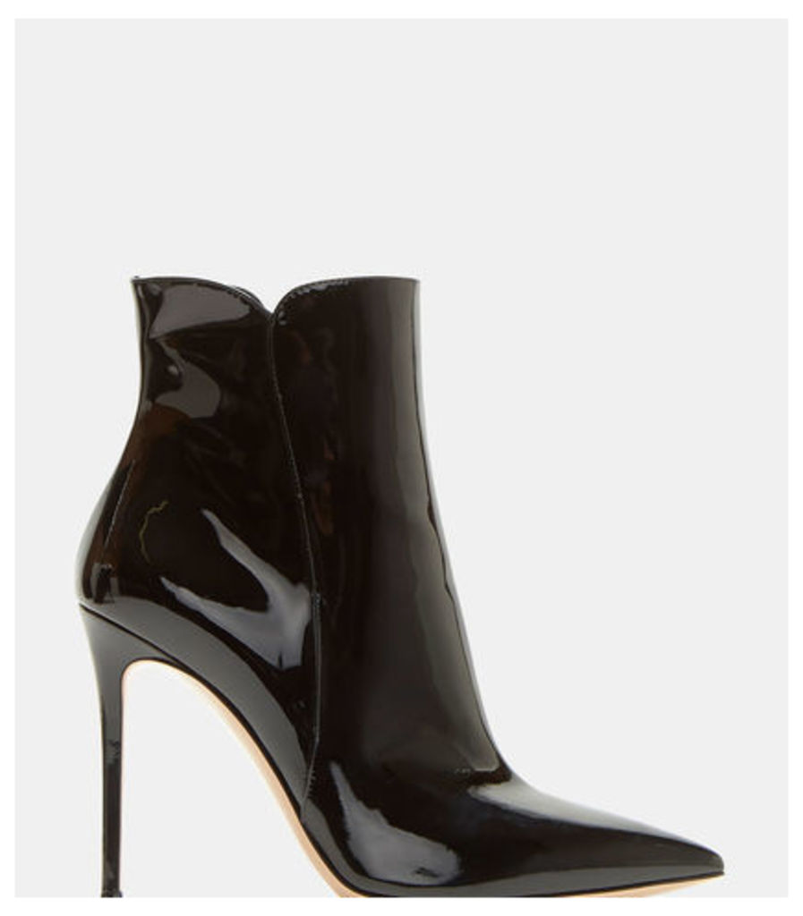 Levy Pointed Stiletto Patent Ankle Boots
