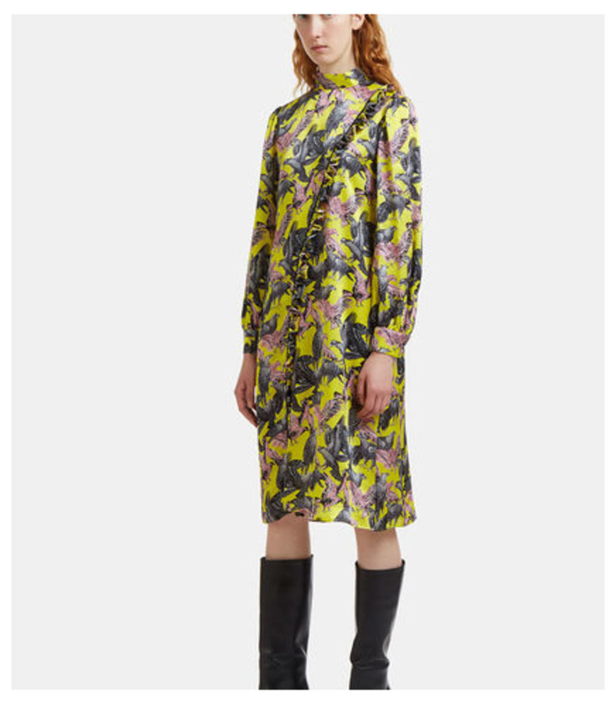 Ruffled Eagle Print Satin Dress