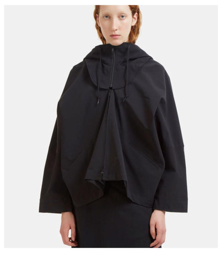 Detachable Hooded Batwing Sleeved Tech Jacket