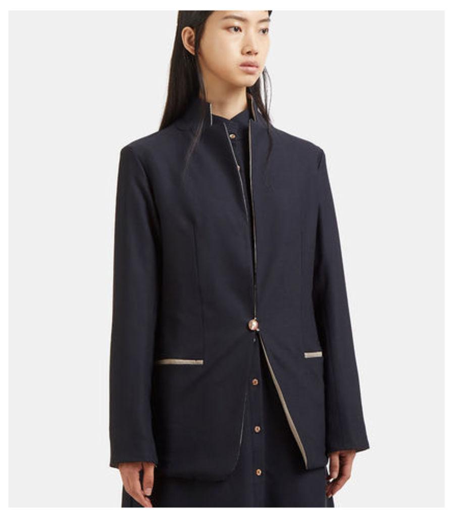 Contrast Collared Blazer Jacket