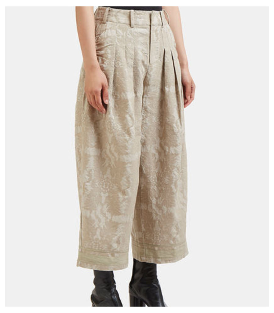 Cropped Wide Leg Damask Jacquard Pants