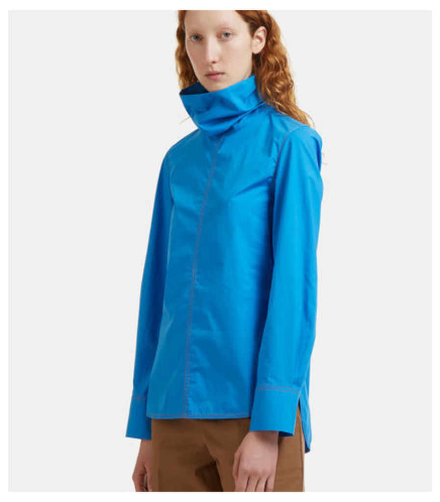 Tactile Poplin Roll Neck Shirt