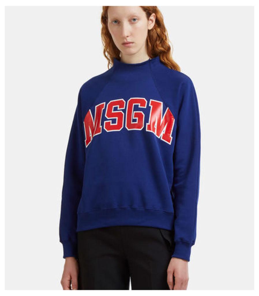 Logo-Printed Raw Mock Neck Sweater