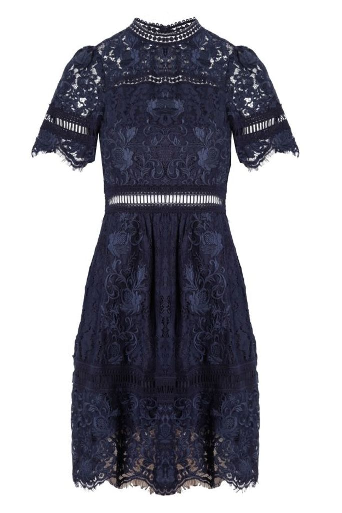 Puff Sleeve Embroidery Lace Dress Navy