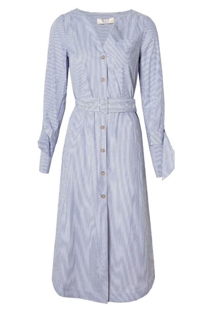Diagonal Placket Dress Blue