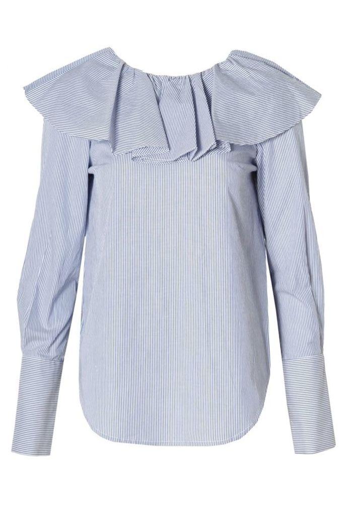 Open Back Ruffle Shirt Blue