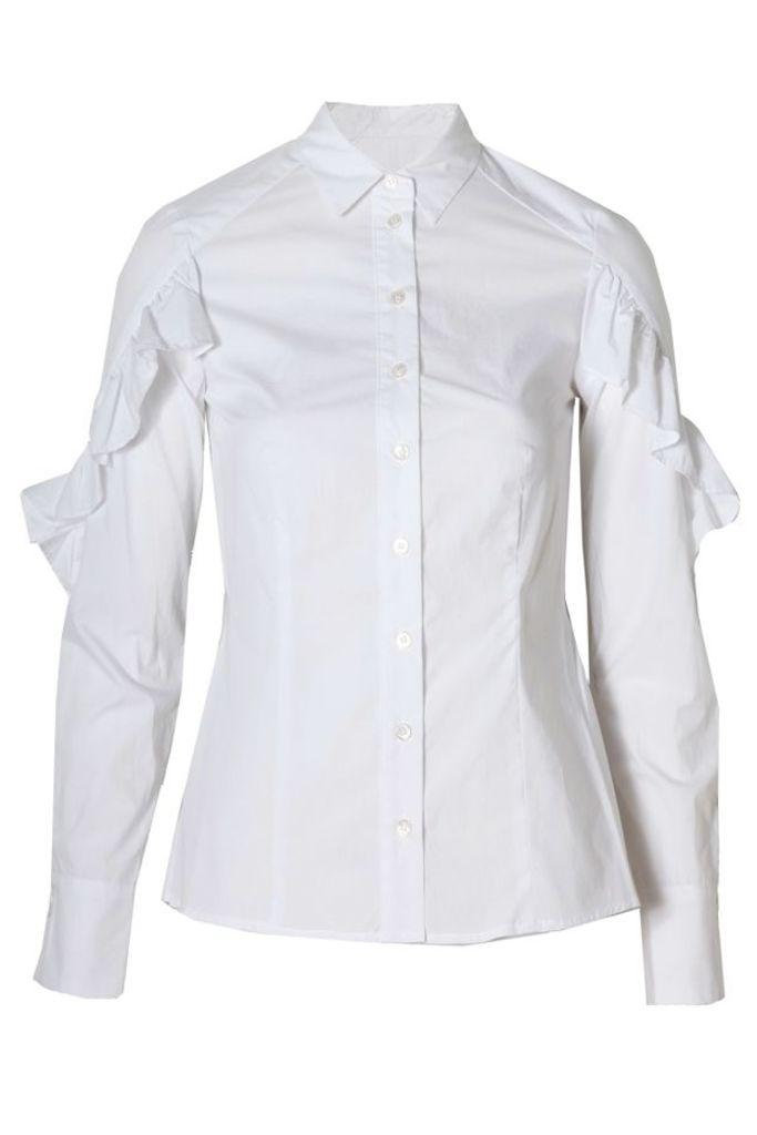 Long Sleeve Ruffle Shirt White