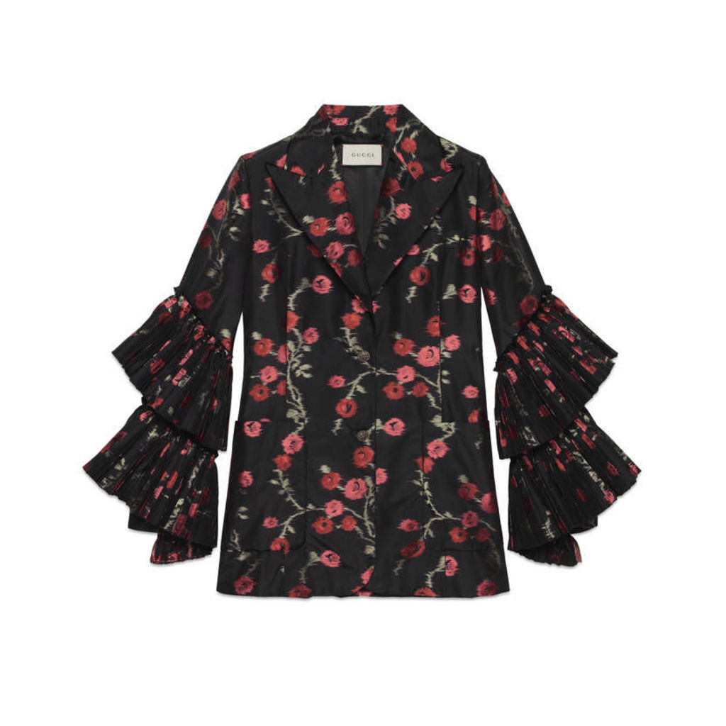 Begonias jacquard jacket with pleated sleeves