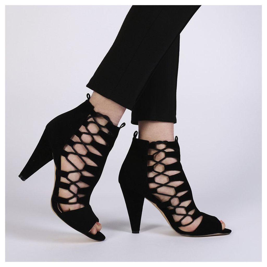 Jules Lace Up High Heels  Faux Suede, Black