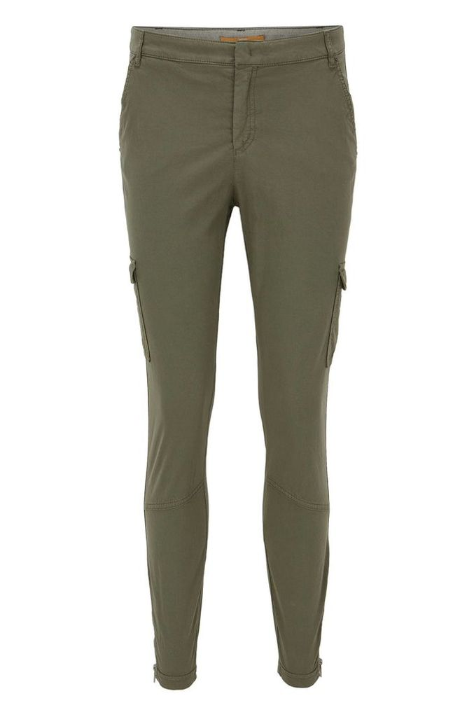 Slim-fit cotton-blend cargo trousers