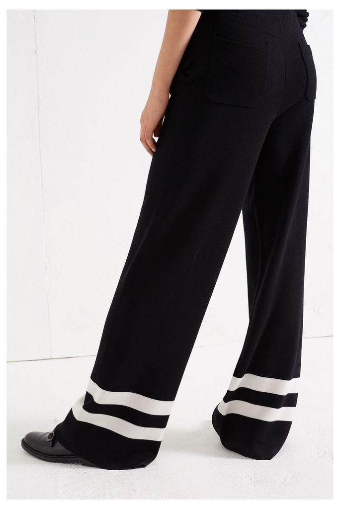 NEW Black Wide-Leg Milano Knit Track Pants