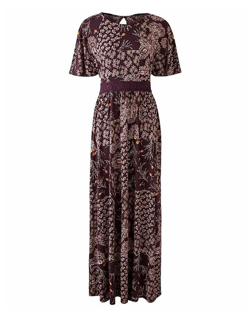 Mulberry PrintLace Detail ITY Maxi Dress