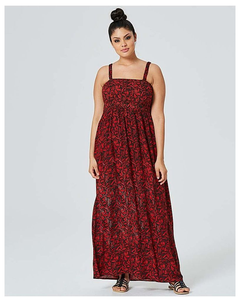 Black/Red Pull On Viscose Maxi Dress