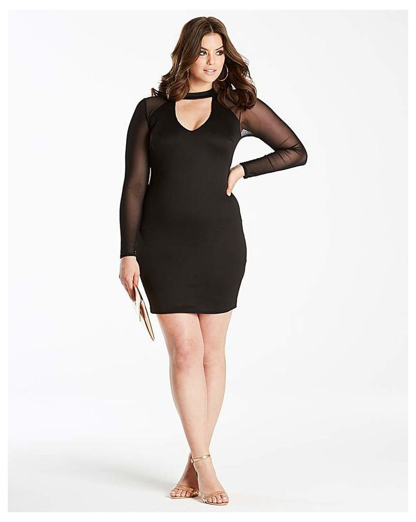 Simply Be by Night Plunge Mesh Dress