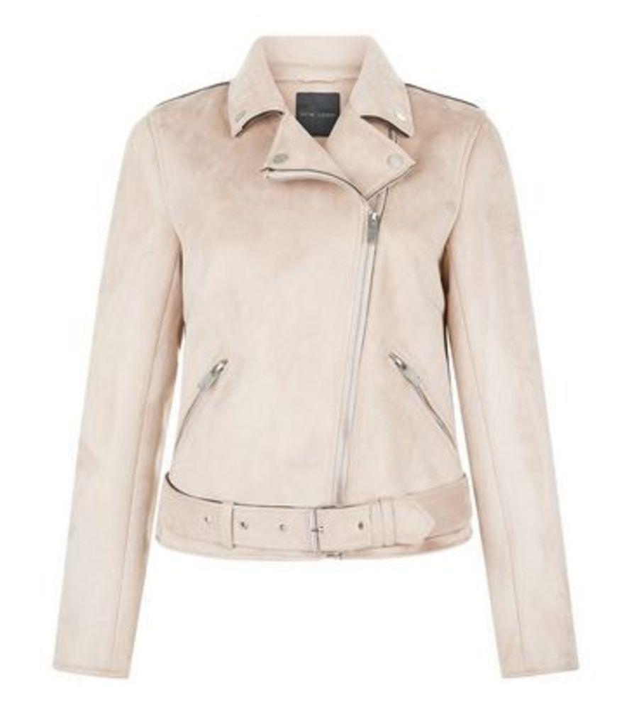 Pink Suedette Biker Jacket New Look