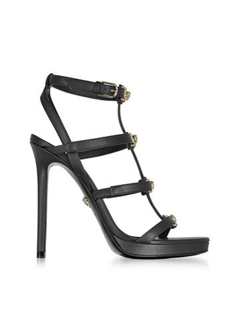 Versace - Black Leather Sandal w/Light Gold Medusa