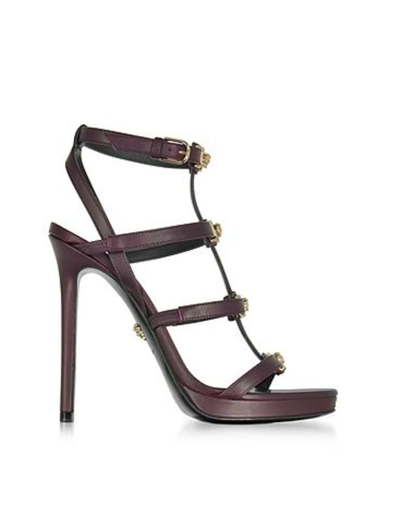 Versace - Burgundy Leather Sandal w/Light Gold Medusa