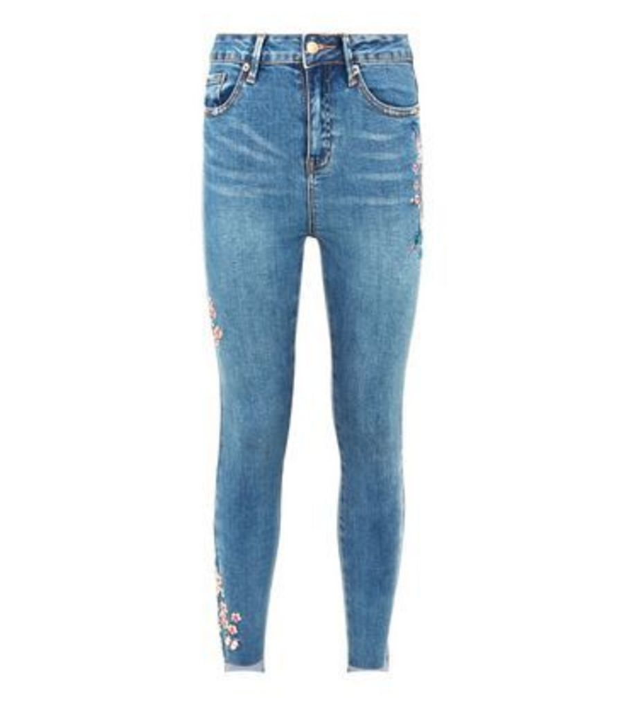 Blue Bird Embroidered Skinny Jenna Jeans New Look