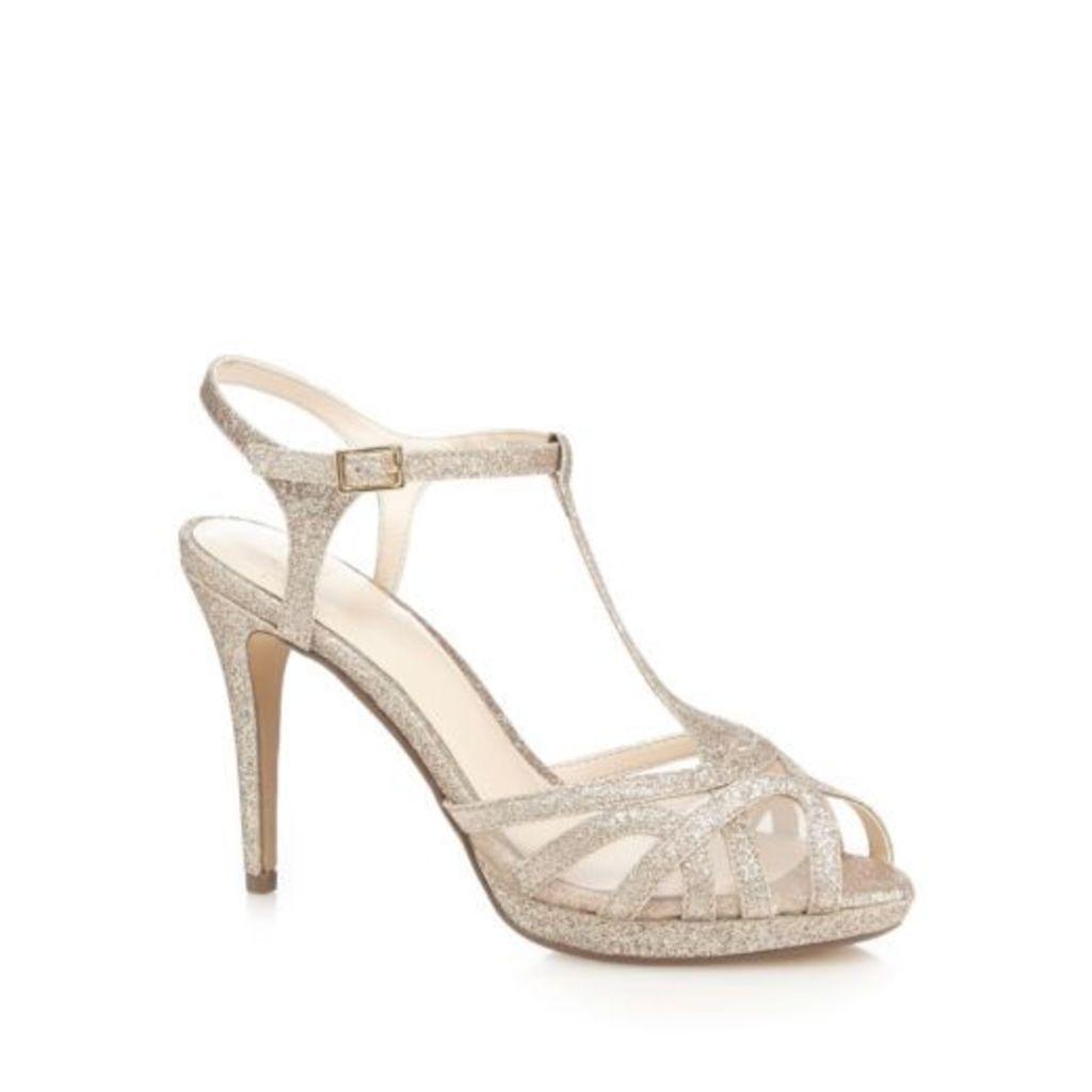 No. 1 Jenny Packham Gold Glitter 'Polly' High Stiletto Heel T-Bar Sandals 8