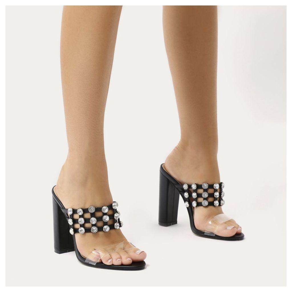 Vacay Diamante Stud Caged Perspex Strap Heels, Black