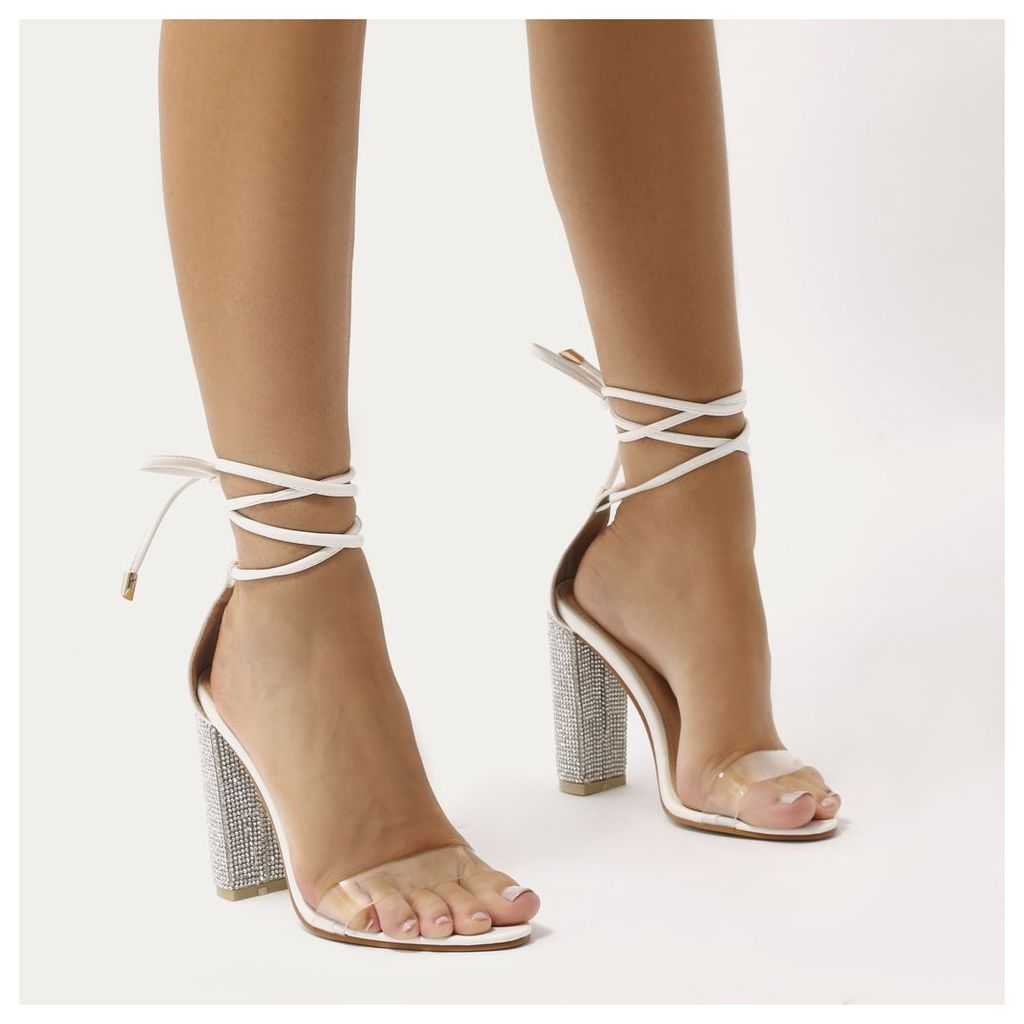 Fatale Diamante Perspex Lace Up Heels, White