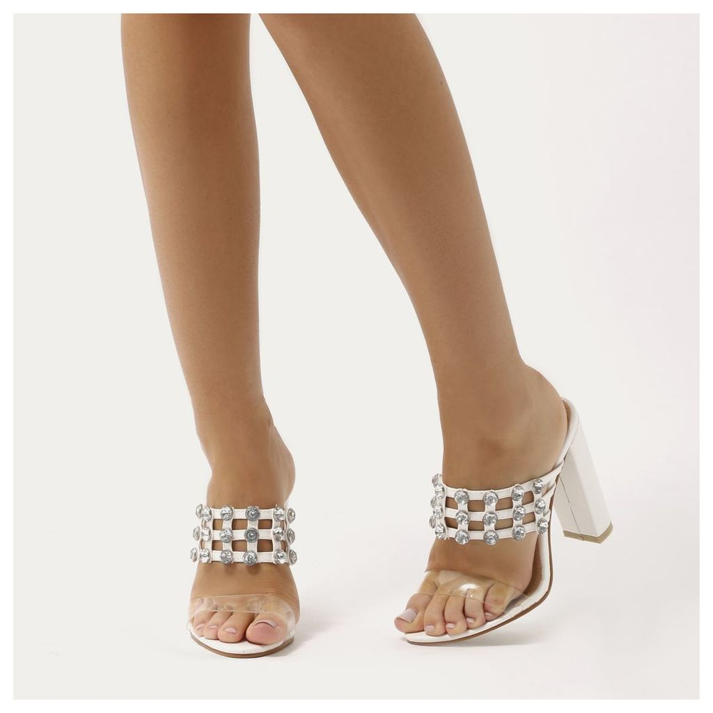 Vacay Studded Caged Perspex Strap Heels, White