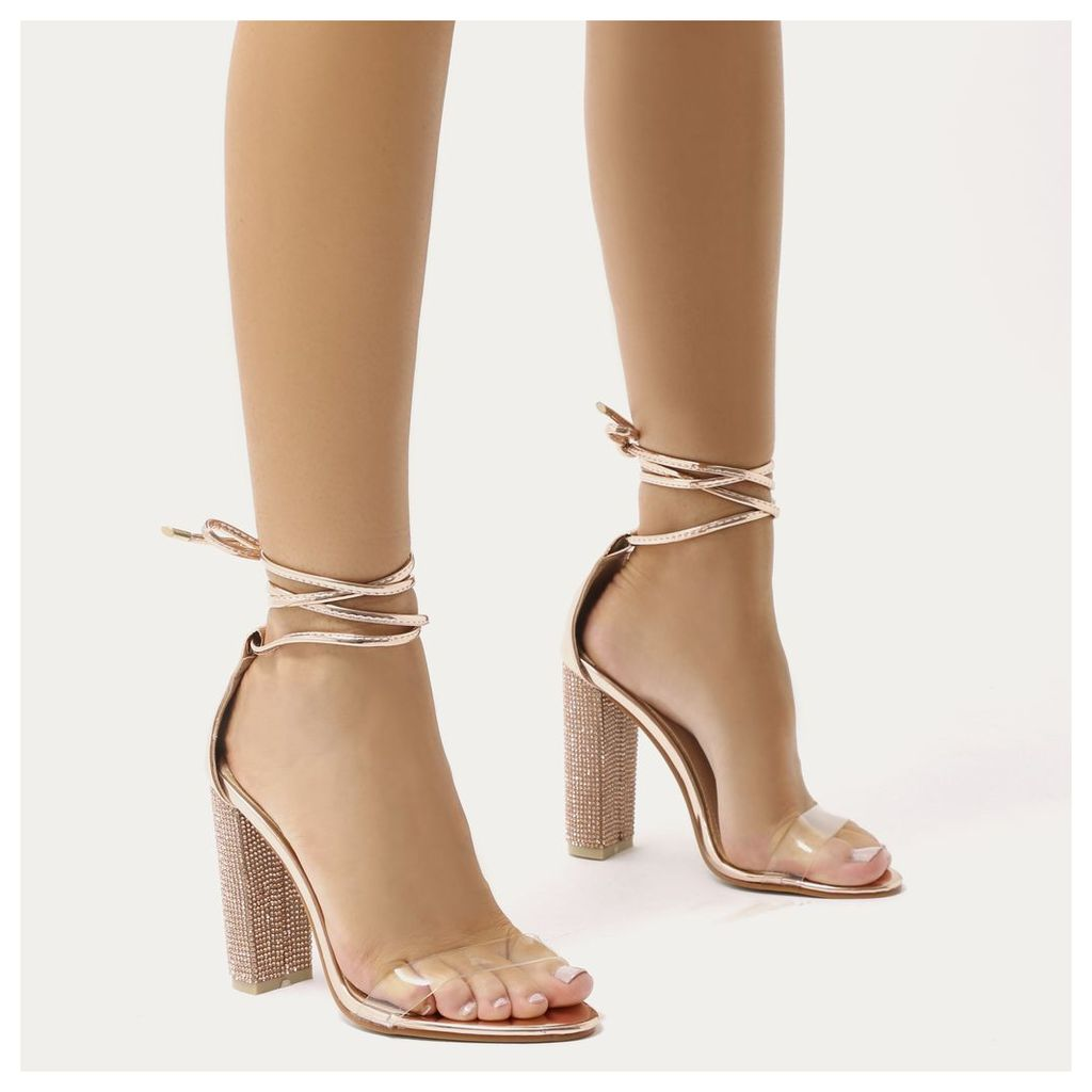 Fatale Diamante Perspex Lace Up Heels in Rose, Gold