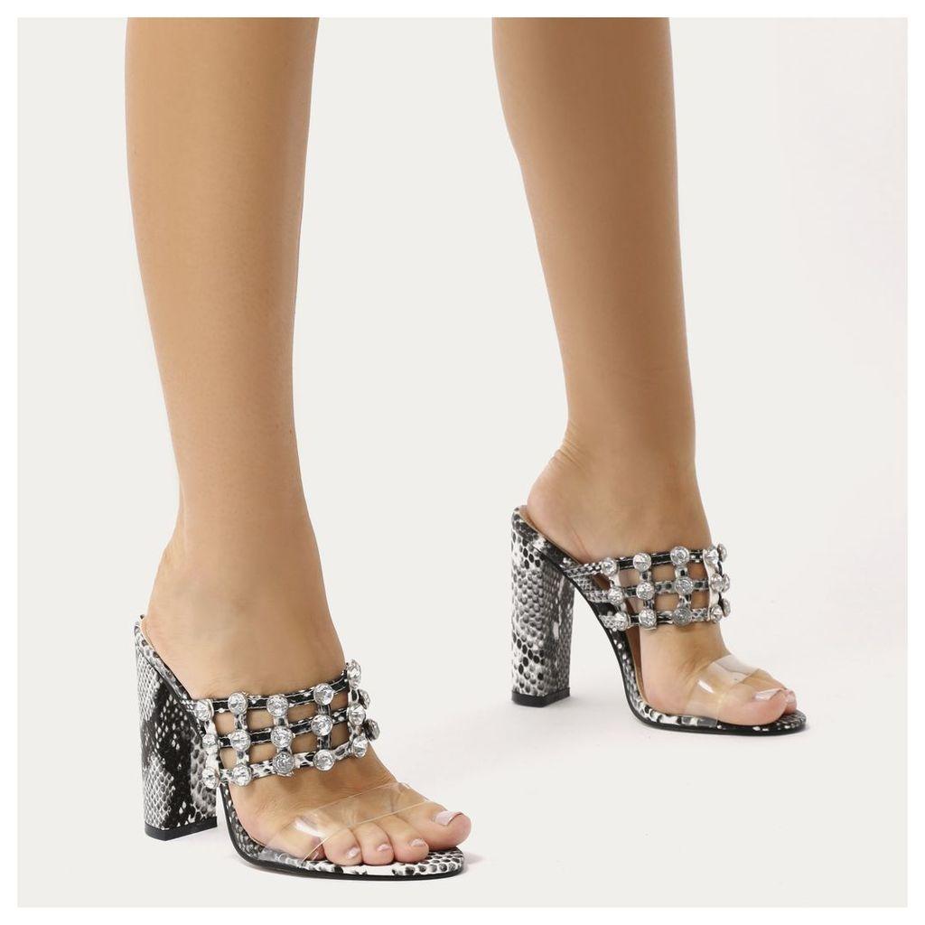 Vacay Diamante Stud Caged Perspex Strap Heels in Faux Snake, Multi