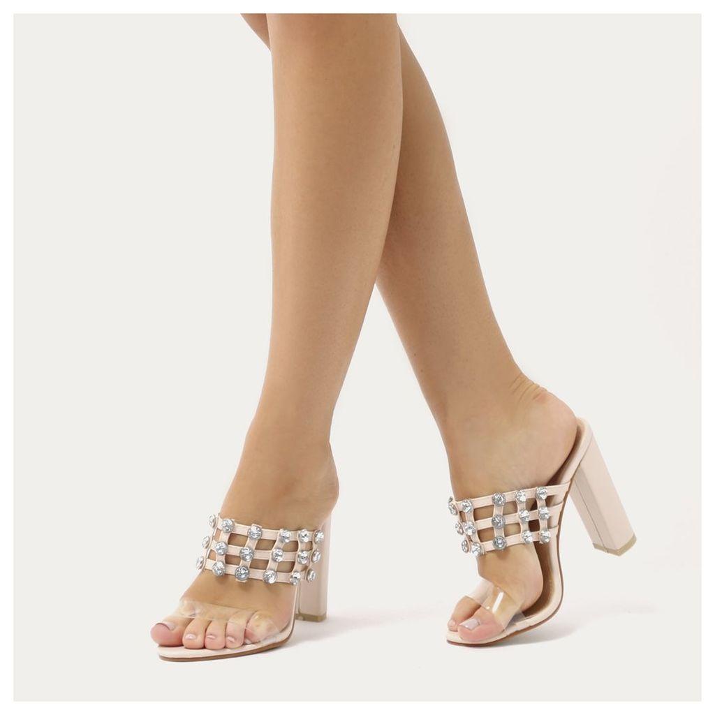 Vacay Diamante Stud Caged Perspex Strap Heels, Nude