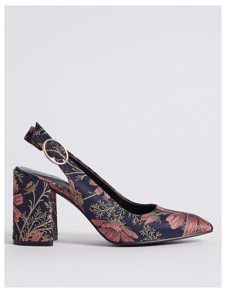 M&S Collection High Block Slingback Court Shoes