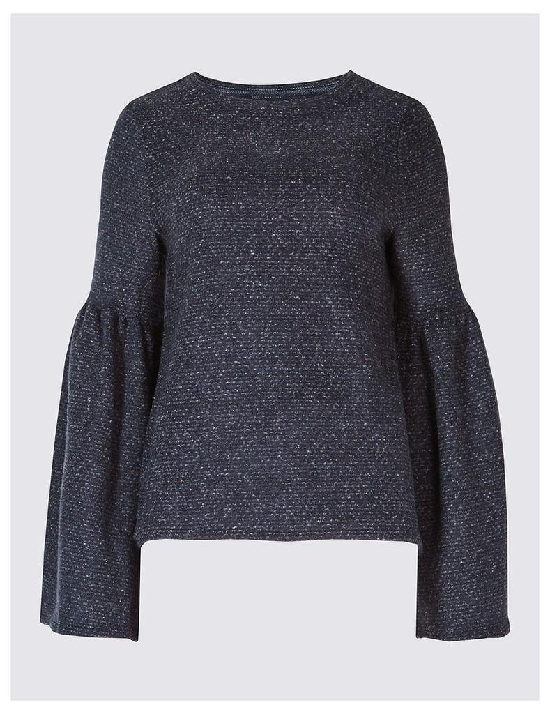 M&S Collection Textured Round Neck Flute Sleeve Sweatshirt